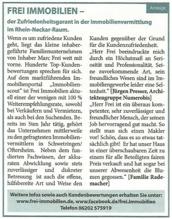 "30.11.2016 Schwetzinger Woche: ""Frei Immobilien"""